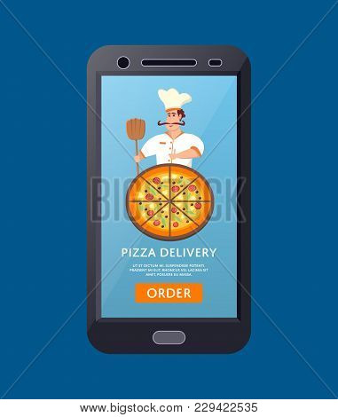 Online Pizzeria Concept With Italian Chef On Screen Of Tablet Computer. Happy Whiskered Man In Chef