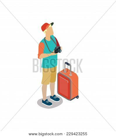 Young Tourist With Camera And Travel Bag. Summertime Vacation, Active Recreation, Hiking And Adventu