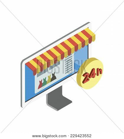 Online Shopping Isometric 3d Icon With Internet Site Shop On Computer Monitor Screen. Interactive Ma