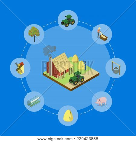 Natural Farming Isometric 3d Banner. Agricultural Constructions And Machinery, Crop Harvesting, Vege