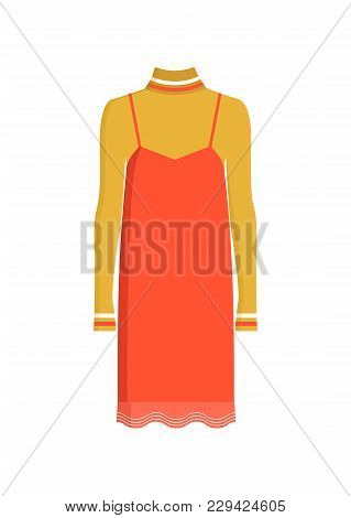 Concept Of Red Stylish Dress, Colorful Poster, Vector Illustration Isolated On White Background, Cut