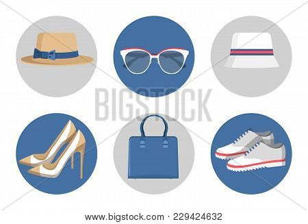 Summer Mode, Accessories Set Consisting Of Bag And Sunglasses With Hats, Set Of Shoes And Sneakers,