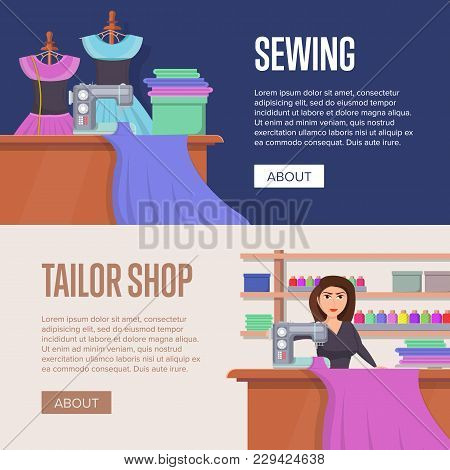 Tailor Shop Horizontal Flyers. Dressmaker Woman Working With Sewing Machine. Premium Quality Custom