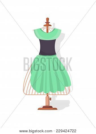 Tailor Mannequin With Dress Isolated Vector Icon. Sewing Studio Equipment, Custom Clothing Atelier,