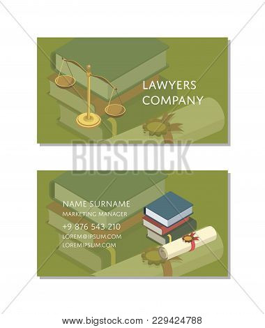 Lawyers Company Business Card Template With Isometric Law Books. Corporate Identity Design For Legal