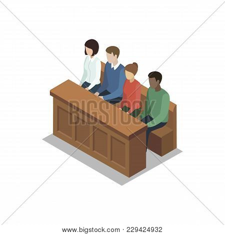 Jury Trial Isometric 3d Element. Law And Judgment Legal Justice Vector Illustration.