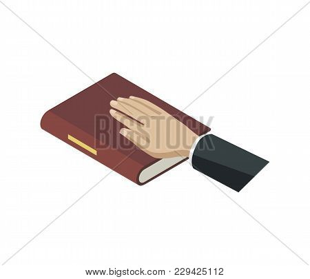 Oath Of Bible Isometric 3d Element. Law And Judgment Legal Justice Vector Illustration.