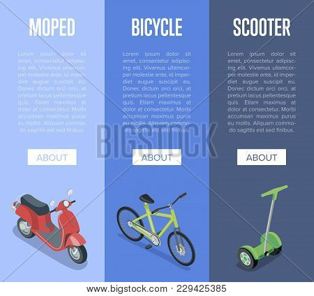 Personal Transport Isometric Vertical Flyers With Motorbike, Electric Scooter And Bicycle. Compact A