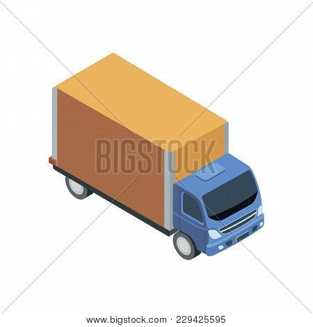 Freight Truck Isometric 3d Element. Motor Transportation Icon, Urban And Countryside Traffic Icon Ve