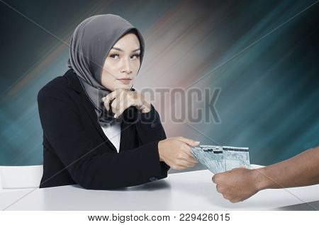 Corruption Concept, Unrecognize Young Women Receiving Bribe From Somebody