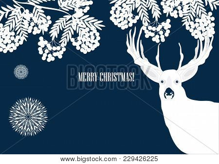 Grapes Of Mountain Ash - Moose - Hand Inscription Merry Christmas - Art Creative Vector Illustration