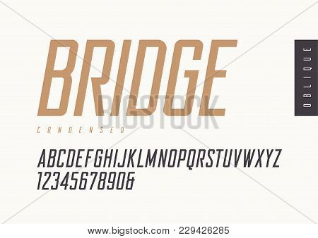 Condensed Oblique Retro Sans Serif. Vector Typefaces, Uppercase Alphabet With Letters And Numbers, F