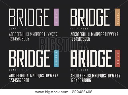Condensed Light Regular Semibold Bold Sans Serif. Vector Typefaces, Uppercase Alphabet With Letters