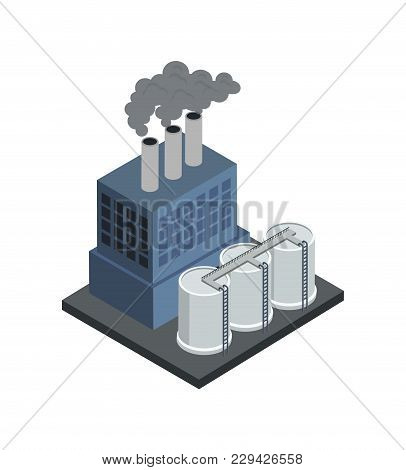 Power Central Isometric 3d Element. Heavy Industry Architecture, Engineering And Manufacturing, Envi