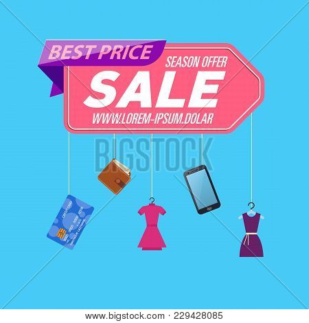 Retail Sale Poster With Various Goods On Blue Background. Special Season Sale, Store Marketing Promo