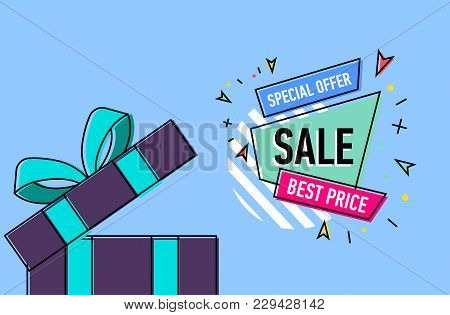 Retail Sale Poster With Open Gift Box On Blue Background. Special Offer, Best Price, Retail Marketin