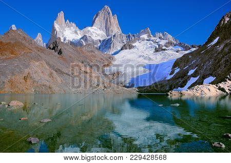 Los Tres Lake By Fitz Roy Mountain. Los Glaciares National Park. Argentina.