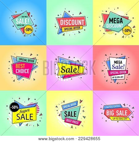 Limited Offer, Best Price, Mega Discount And Super Sale Stickers In Trendy Linear Style. Retail Mark