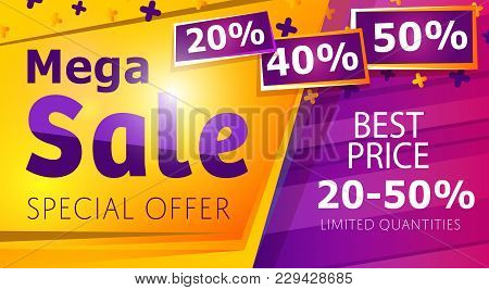 Mega Sale Banner In Trendy Style. Retail Marketing Information, New Advertising Campaign, Holiday Sh