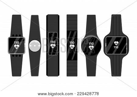Fitness Run Tracker Band Set. Sport Bracelet Or  Wristband. Vector Illustration.