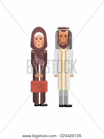 Arabic Couple In Traditional National Clothes. Arab Family Isolated Illustration.