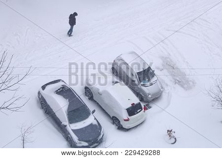 Parked Cars Covered With Snow. Bad Weather In Town. Snow Storm. Urban Scene. Weather Concept. Blizza