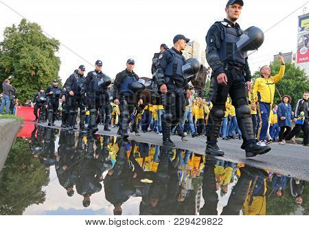 Kharkiv, Ukraine - September 2,2017: Policemen Guard The Fan-march Of Ukrainian National Football Te