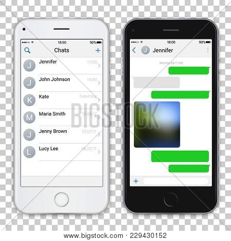 Two Chat Screens Templates On Realistic Black And White Smartphones. Contacts Page Mockup And Text B