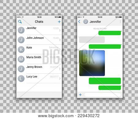 Two Chat Screens Templates, Contacts Page Mockup And Text Green Bubbles Messeges, And Sended Media F