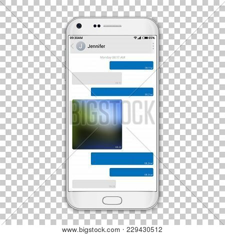 Chat Messenger On Phone Screen, Vector Editable Resizable Illustration. High Detailed Quality White