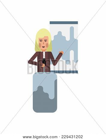 Blonde Woman On Tribune Doing Business Presentation With Financial Diagram. Corporate Business Peopl