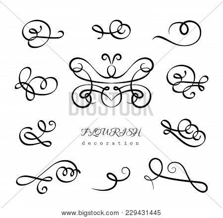 Vintage Calligraphic Flourishes And Curlicues, Set Of Decorative Design Elements In Retro Style, Vec