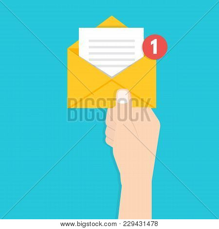 Get Email Concept.  Hand Holding Envelope With Notification. Vector Illustration.