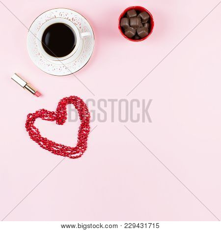 Chocolate Sweets, Hot Drink, Lipstick. Feminine Background In Red And White Colors. Flat Lay, Copy S