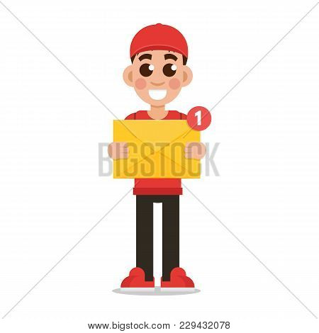 Get Email Concept.  Delivery Boy Holding Envelope With Notification. Vector Illustration.