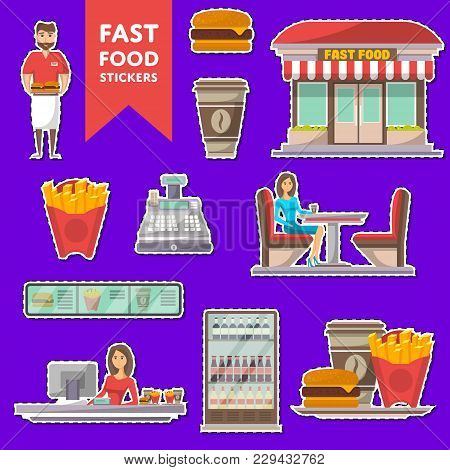 Street Fast Food Cafe Labels Set. Restaurant Takeaway Menu With Coffee Cup, French Fries, Burger. Sh