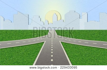 Illustration Of Empty Highway With Road Junction. Road Leading To City Standing At Horizon. Shading,