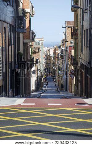 Empty Barcelona Street, Catalunya Landscape, Spain. Empty Barcelona Road. Barcelona Road View. Trave