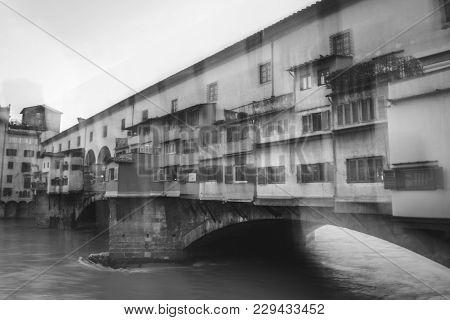 Blurry Vision Of Ponte Vecchio, Blurry Vision Headache Concept.