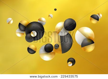 3d Balls Fly, Chaotic Fall. Abstract Gold, Black, White Background. Composition From The Group Of Tr