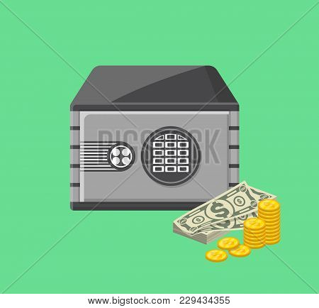 Metallic Safe Box With Money Near. Bank Deposit Box With Closed Door And Buttons Of Electronic Combi