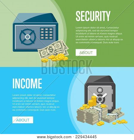 Metallic Safe Box With Big Pile Of Paper Banknotes And Golden Coins Near. Money Storage, Banking And