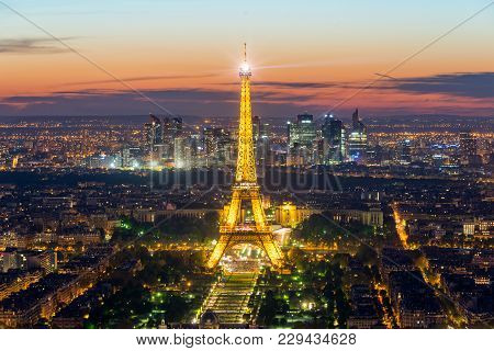 Paris, France - May 5, 2016: Beautiful Paris Skyline View Eiffel Tower During Light Show At Dusk, Pa