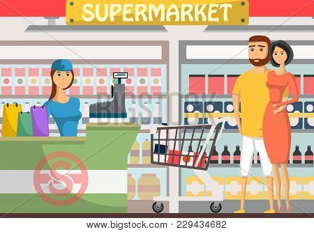 Young Couple Shopping At Supermarket Banner. Retail Cashier In Uniform With Cash Register And Buyers