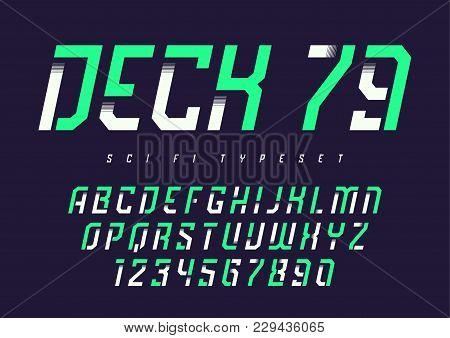 Deck 79 Vector Futuristic Industrial Display Typeface Design, Alphabet, Character Set, Font, Typogra