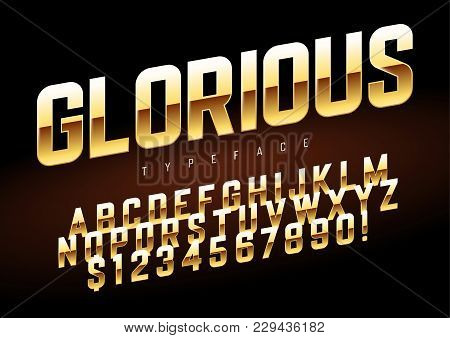 Vector Shiny Golden Display Font Design, Alphabet, Character Set, Typeface, Typography, Letters And