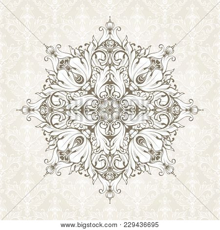 Vintage Background With Pattern. Ornate Lace Template For Invitation, Greeting Card, Certificate Des