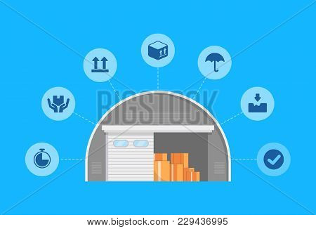 Warehouse Logistics And Management Poster. Commercial Worldwide Goods Shipping, Freight Storage And