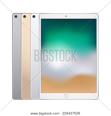 Electronic Tablets Of Different Colors Silver, Space Grey And Rose Gold, Front View And Backside. Ve
