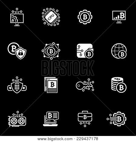 Blockchain Cryptocurrency Icons. Modern Computer Network Technology Sign Set. Digital Graphic Symbol